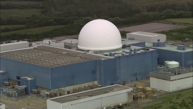 aerial sizewell b nuclear power station / suffolk, england - dome stock videos & royalty-free footage