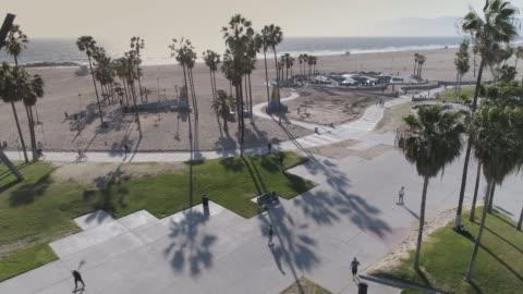ベニス ビーチ ボードウォークに空中のスケートボーダー - ベニスビーチ点の映像素材/bロール