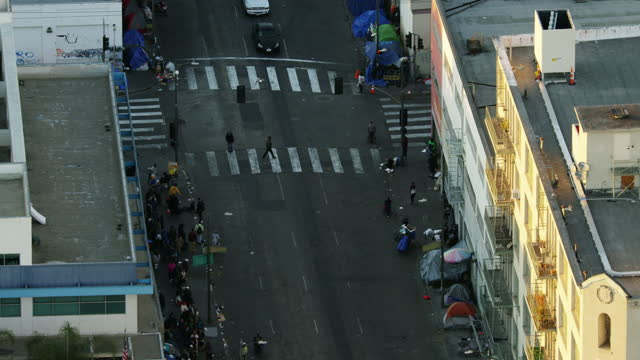 aerial skid row tent city homeless people la - crisis stock videos & royalty-free footage