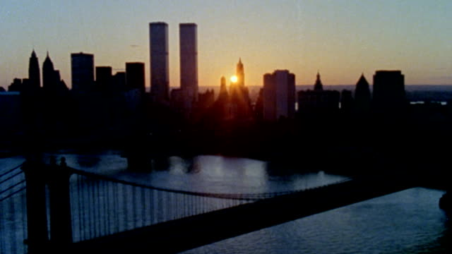 aerial skyline of new york city circa 1985 - world trade centre manhattan stock videos and b-roll footage