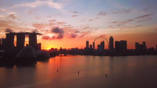 aerial skyline of singapore cbd - singapore stock videos & royalty-free footage