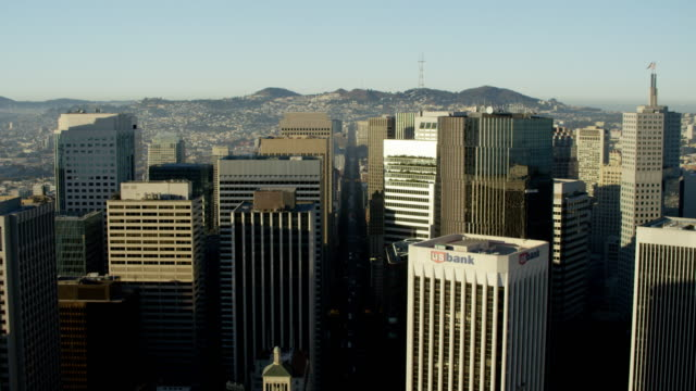 Aerial skyline view downtown city skyscrapers San Francisco
