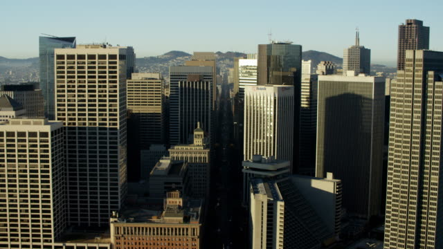 aerial skyline view downtown city skyscrapers san francisco - western script stock videos & royalty-free footage