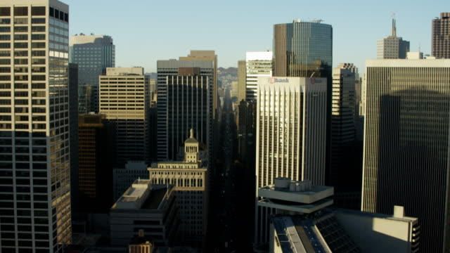 aerial skyline view downtown city skyscrapers san francisco - western usa stock videos & royalty-free footage