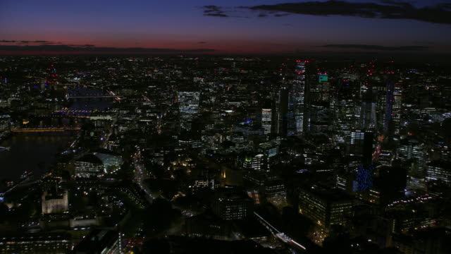 aerial skyline view london city lights at night - skyline stock videos & royalty-free footage