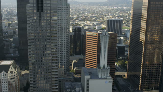 aerial skyline view office skyscrapers downtown los angeles - tower stock videos & royalty-free footage