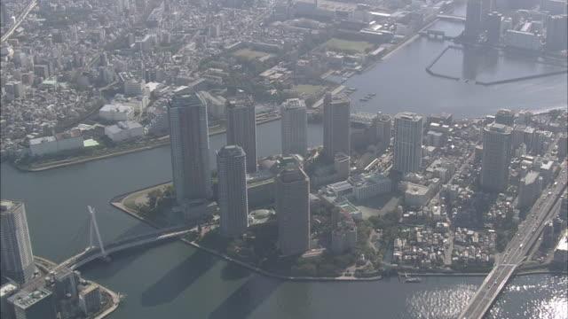 Aerial Skyscrapers In Tokyo Bay Area