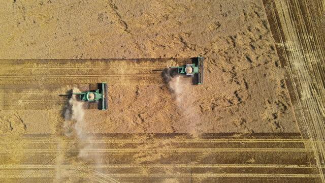vídeos y material grabado en eventos de stock de aerial slider shot of combines harvesting mature wheat fields on summer afternoon - menos de diez segundos