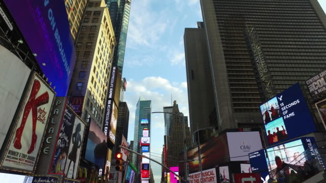 aerial slow motion view of nyc manhattan times square buildings - times square manhattan stock videos & royalty-free footage