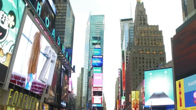 Aerial Slow Motion View of NYC Manhattan Times Square Buildings