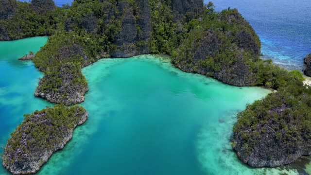 aerial: small islands in bright blue ocean, raja ampat islands, indonesia - indonesia video stock e b–roll
