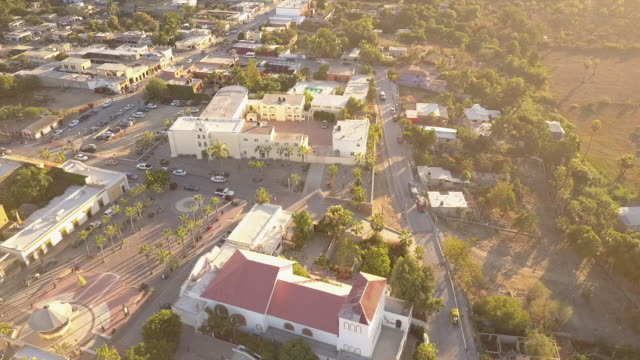 Aerial, small town in Baja
