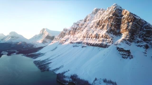Aerial snow mountain peak