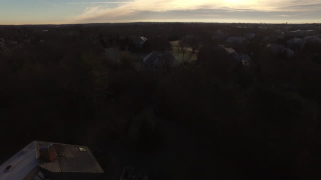 Aerial soaring over fall trees to reveal wealthy homes in suburban Chicago