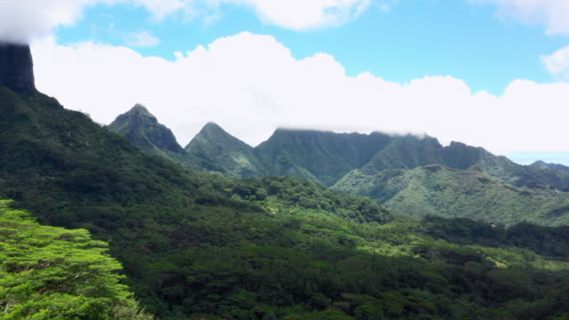 aerial spin: amazing views on moorea of mountains and the ocean, moorea, french polynesia - insel moorea stock-videos und b-roll-filmmaterial