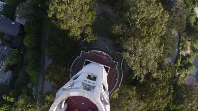 aerial spiral down the dramatic side of coit tower and into the lush trees of pioneer park - san francisco, california - coit tower stock videos & royalty-free footage