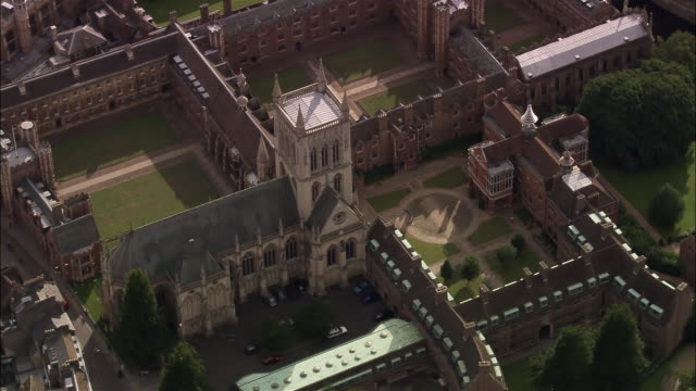 aerial st john's college chapel at cambridge university / cambridge, england - cambridge england stock videos and b-roll footage