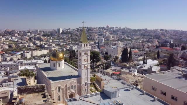 aerial / st. nicholas church near beit jala ,beit lehem and rachel's tomb, jerusalem - hebron west bank stock videos & royalty-free footage