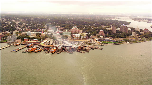 aerial staten island, with ferry terminal foreground. foggy day and fog. - staten island stock videos and b-roll footage