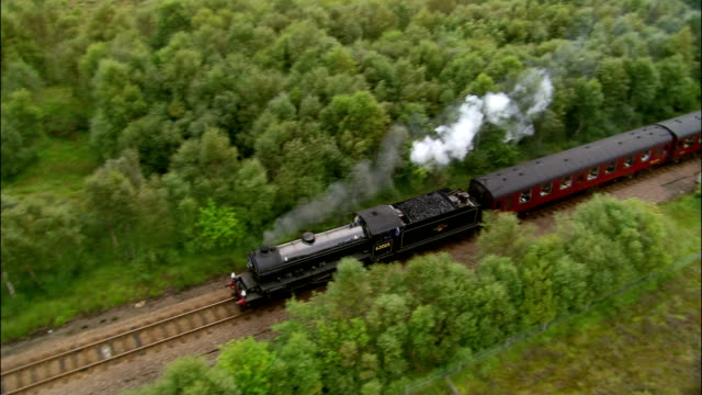 Aerial steam train traveling through stand of trees alongside highway towards Loch Eil / Scotland