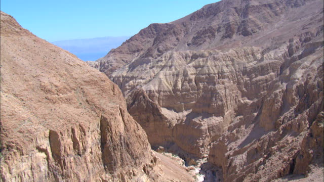 Aerial steep sided canyon in the Judea Desert, Israel