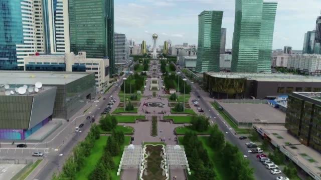 aerial stockshots of nur sultan capital of kazakhstan - nur sultan stock videos and b-roll footage