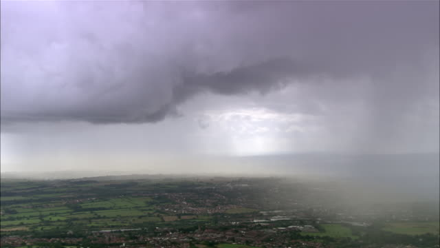 Aerial storm clouds and rain over Derbyshire / England