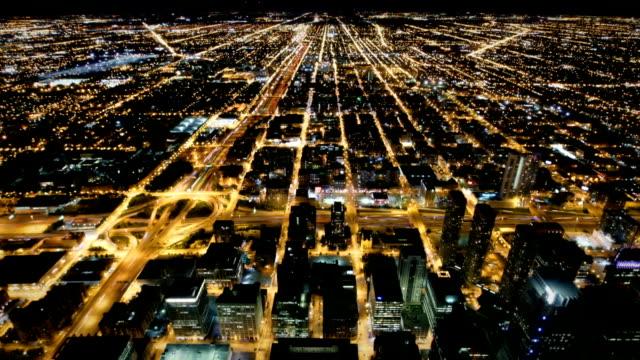 Vista aérea de las calles de Chicago, EE.UU.