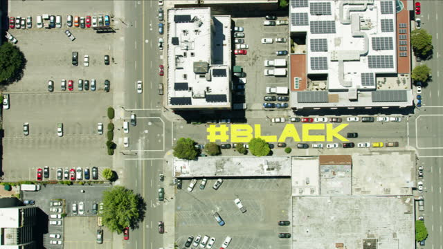 aerial streets painted with black lives matter oakland - san francisco bay area stock videos & royalty-free footage