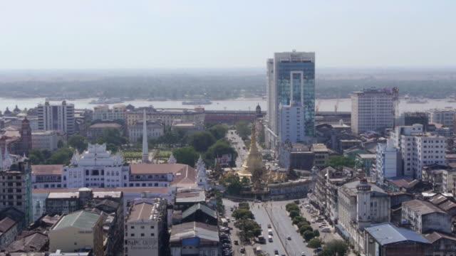 aerial. sule pagode in yangon, myanmar - spoonfilm stock-videos und b-roll-filmmaterial