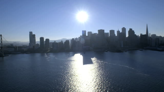 aerial sun flare view port of san francisco - north pacific ocean stock videos & royalty-free footage