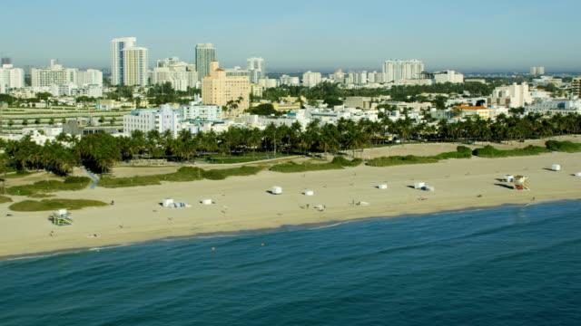 Aerial sunrise Art Deco hotels South Beach Miami