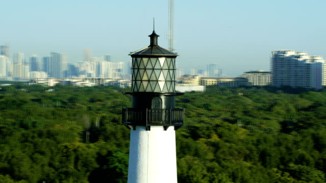 aerial sunrise cape florida lighthouse key biscayne miami - florida us state stock videos & royalty-free footage