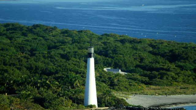 aerial sunrise cape florida lighthouse key biscayne miami - florida us state stock videos and b-roll footage