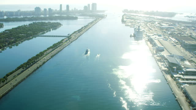 aerial sunrise cruise terminal biscayne bay florida america - biscayne bay stock videos & royalty-free footage