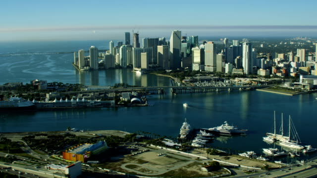 aerial sunrise macarthur causeway and cruise terminal miami - biscayne bay stock videos & royalty-free footage