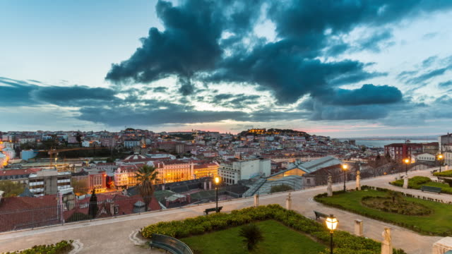 aerial sunrise motion timelapse (hyperlapse) of lisbon. portugal. april, 2017 - lisbon stock videos and b-roll footage