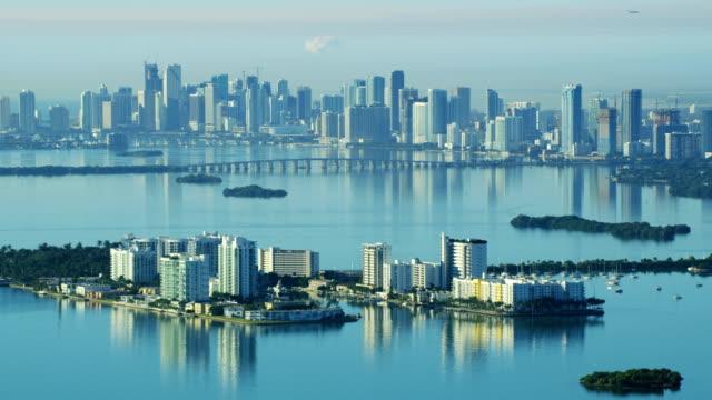 aerial sunrise north bay island causeway city skyline - biscayne bay stock videos & royalty-free footage