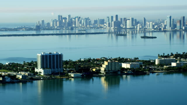 aerial sunrise north bay island causeway city skyline - biscayne bay stock videos & royalty-free footage