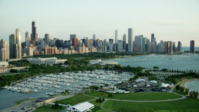 aerial sunrise of boats on lake michigan chicago - shedd aquarium stock videos and b-roll footage