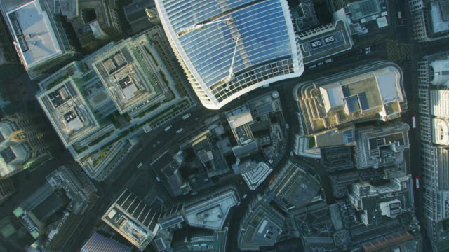 aerial sunrise rooftop view walkie talkie london streets - twilight stock videos & royalty-free footage
