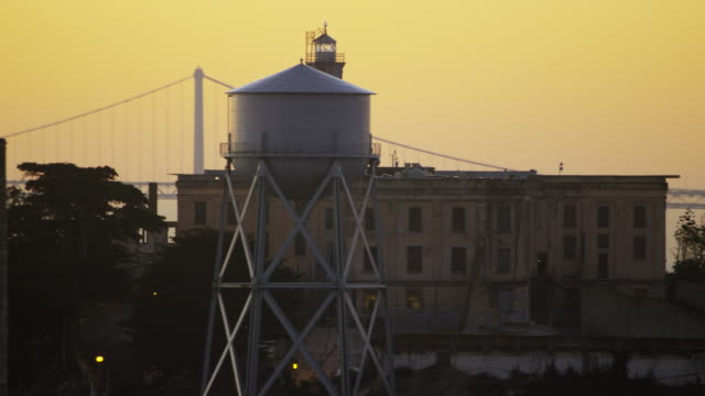 aerial sunrise view alcatraz island san francisco bay - alcatraz island stock videos & royalty-free footage