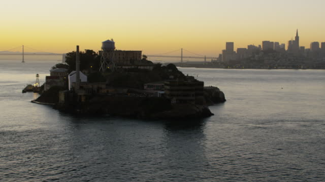 Aerial sunrise view Alcatraz Island San Francisco Bay