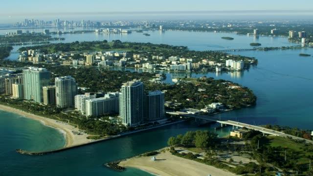 aerial sunrise view bal harbor condominium resort miami - biscayne bay stock videos & royalty-free footage