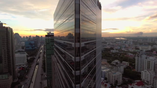 Aerial sunrise view Bangkok