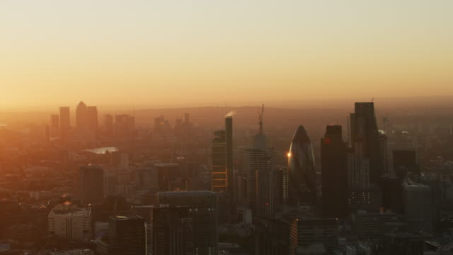 aerial sunrise view city of london skyline england - canary wharf stock videos & royalty-free footage