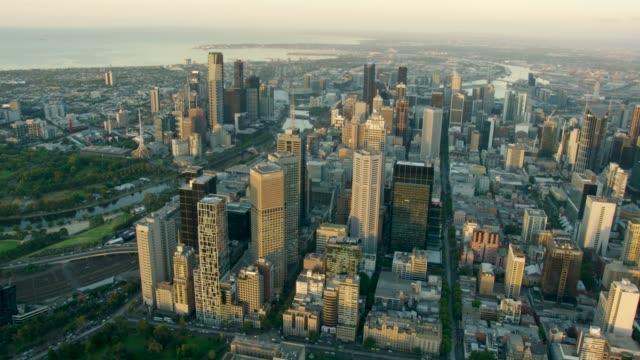 Aerial sunrise view city skyscrapers of Melbourne CBD