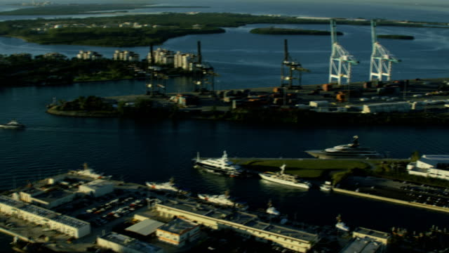 aerial sunrise view container port cruise terminal miami - biscayne bay stock videos and b-roll footage