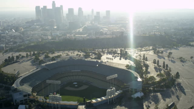 Aerial sunrise view Dodgers Baseball Stadium Los Angeles