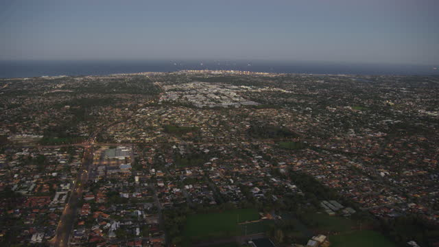 aerial sunrise view fremantle harbor from kardinya perth - anchored stock videos & royalty-free footage